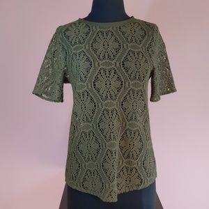 Banana Republic Olive Green Knit/Lace Top